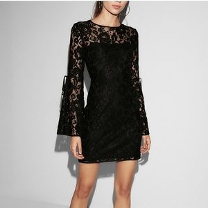 EXPRESS Black lace bell sleeve dress